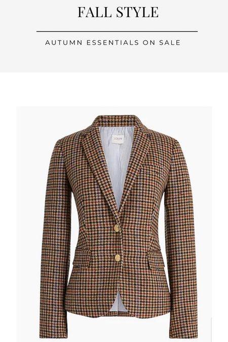 Fall blazer, houndstooth, work wear, work style, preppy, fall outings, equestrian chic, j crew factory sale   #LTKsalealert #LTKworkwear