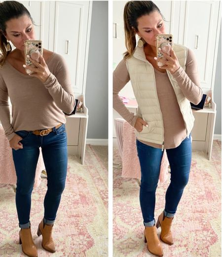 How to style a white long sleeve tee- Everything is true to size. Wearing a small in the tee and vest. Wearing a 4 in the jeans. #justpostedblog  Amazon  Fall Scarf Old Navy   #LTKunder50 #LTKSeasonal #LTKunder100