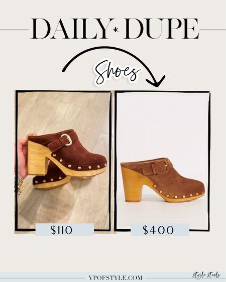 Daily dupes, shoedupes, designer dupes, dupes, mules, clogs, Steve Madden shoes, shoe sale   #LTKunder100 #LTKshoecrush #LTKstyletip