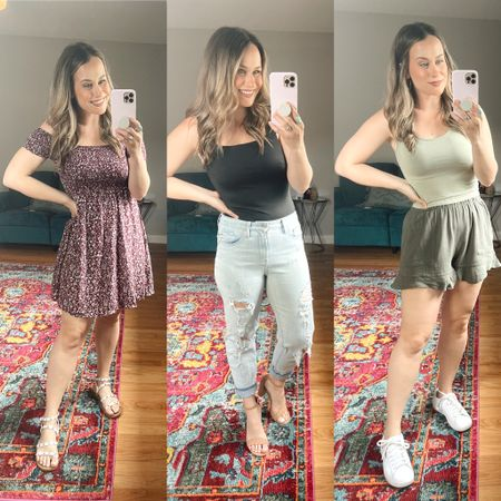 Amazon fashion finds! 1. This off the shoulder dress is the perfect summer dress, and these white sandals are under $15 2. This black bodysuit is the best material, and under $20, these mom jeans and nude heels are both target finds 3. This cropped top comes in a pack with all the colors and these cute little shorts are such good amazon finds, also linked my white sneakers   #LTKshoecrush #LTKstyletip #LTKunder50