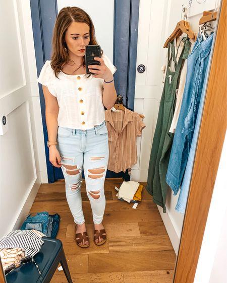 American Eagle sale try on http://liketk.it/2BKSV  @liketoknow.it #liketkit #LTKitbag #LTKsalealert #LTKshoecrush #LTKspring #LTKstyletip #LTKunder50 #LTKunder100 American eagle distressed jeans white button down top spring outfit spring sandals sunglasses straw round bag rattan bag
