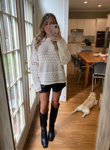 Fall outfits fall sweater cream sweater  Small  Leather shorts small Code CAMPBELL15