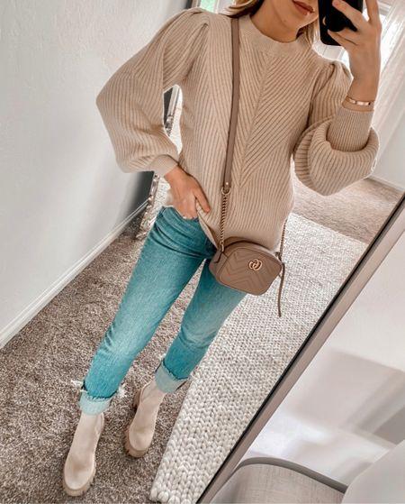 Amazon sweater, sweater, fall outfit, tan boots, Gucci bag  #LTKSeasonal #LTKshoecrush #LTKunder50