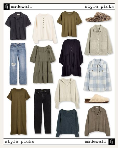 Love these new styles from Madewell - perfect for transitioning to fall! #fallfashion #falloutfit #falldresses #rippeddenim #falltops  #LTKunder100 #LTKunder50 #LTKstyletip