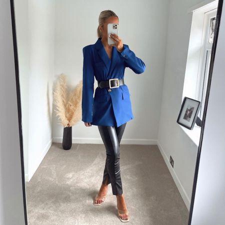 Leather leggings and a blazer 🏼💙  #LTKunder100 #LTKbeauty #LTKstyletip