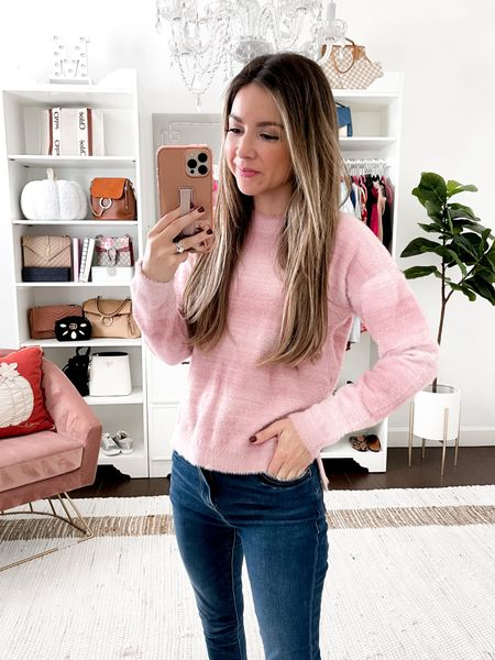 Pink fuzzy sweater 80% of sale goes to bright pink to help with breast and ovarian cancer wearing size small