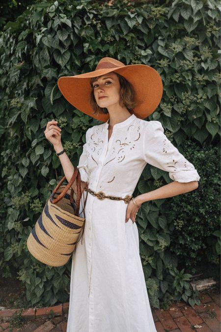 The white maxi dress that begs to go on vacation. #maxidress #whitedress #strawbag  #LTKtravel #LTKitbag #LTKSeasonal