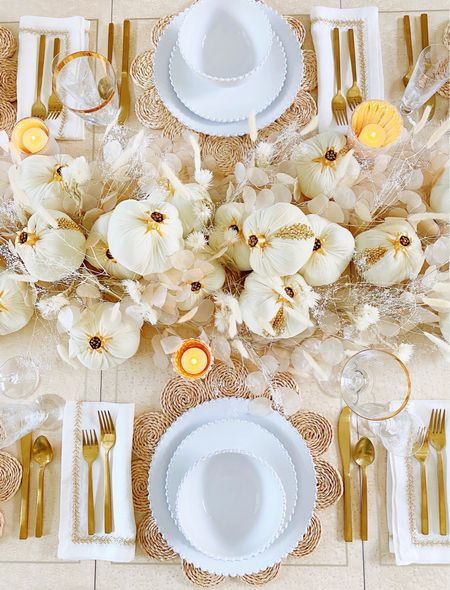 Fall table with my favorite white dishes   #LTKHoliday #LTKhome #LTKSeasonal