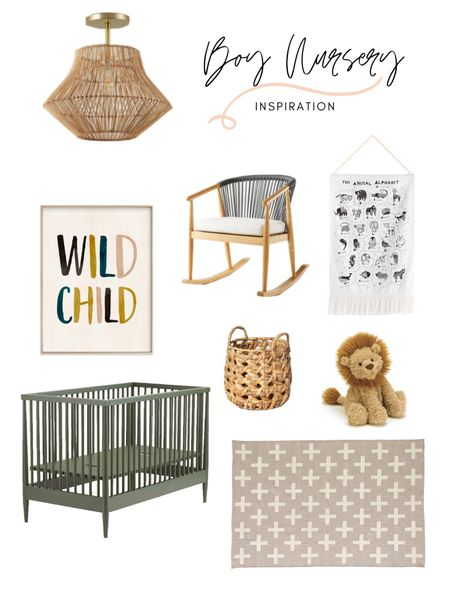 Boy nursery decor! Loving this mood board for a baby's boy nursery. And how about that crib?! Shop the look: http://liketk.it/3aYXv #liketkit @liketoknow.it @liketoknow.it.home #LTKbump #LTKbaby #LTKkids