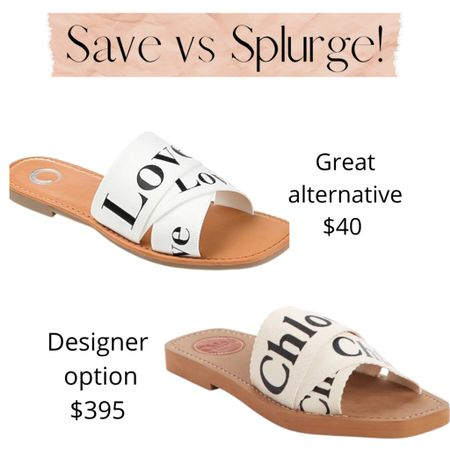 Save vs Splurge!  These ADORABLE Chloe-inspired slides get great reviews and are a steal for only $40.  They get great reviews!  Offered in white, black, and pink.  Perfect for spring and summer!  Slides | flip flops | sale |summer shoes | spring shoes    Shop your screenshot of this pic with the LIKEtoKNOW.it shopping app http://liketk.it/3b4G6 #liketkit @liketoknow.it #LTKunder50 #LTKshoecrush #LTKstyletip