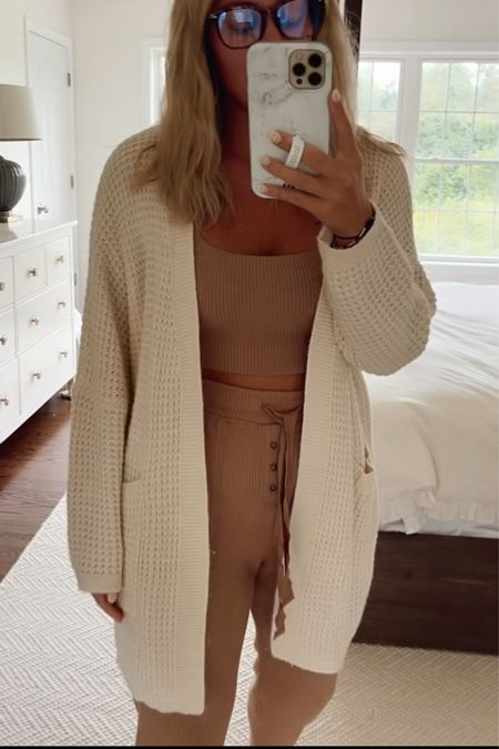 Amazon cardigan for fall with Abercrombie matching lounge set t  #LTKunder50 #LTKSeasonal #LTKstyletip