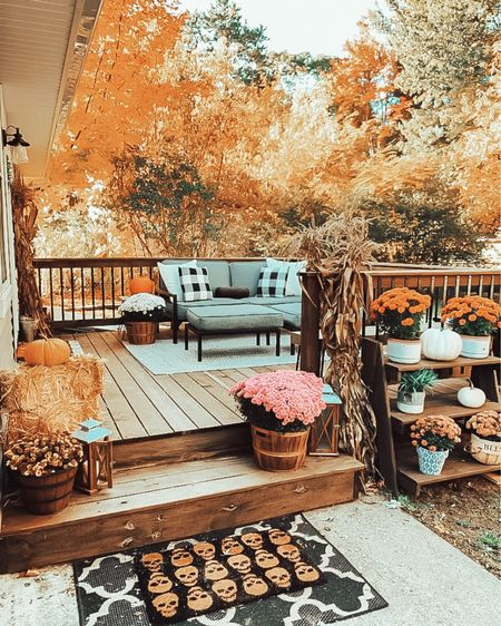 D R E A M Y // Our back deck last fall was so dreamy ✨🍁 It feels like the colors on the trees are changing so early this year 🍂 Some of the leaves are already covering the ground 🎃 The good news is that this year I won't have to rake all of these up! 🏡 Tonight I baked some acorn squash to go with dinner, one of my fall favorites🍴What's one of your favorite things to make in the fall?👇🏼 📲 You can instantly shop my looks by following me on the LIKEtoKNOW.it shopping app @liketoknow.it #liketkit http://liketk.it/2WH0E #LTKhome