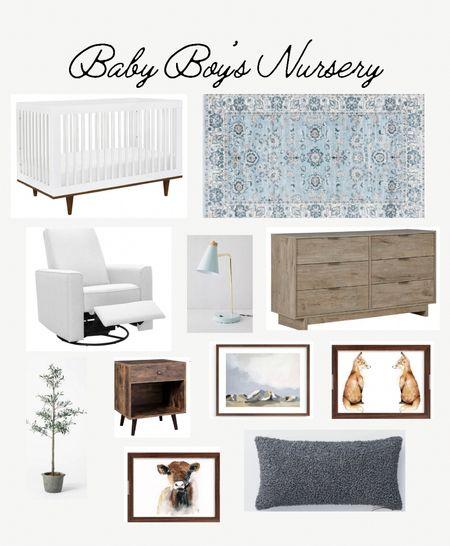 Nursery boy nursery transitional nursery white glider blue area rug wood dresser white crib minted art nursery art olive tree throw pillow   #LTKbaby #LTKhome