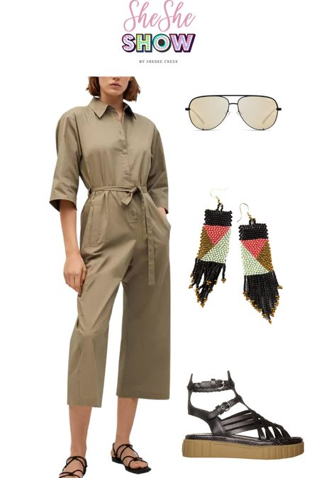 Wear this now with sandals and later with booties or boots@macys @quay @samedelman #samedelman #quaysunglasses #macys #transitionalclothing #jumpsuit #utilityjumpsuit #statementearrings #beadedearrings #sandals   #LTKunder100 #LTKstyletip #LTKunder50