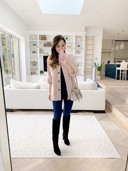Definitely my favourite shacket find of the season. Love the blush pink tones! 💕 Wearing an XS.   Boots are TTS and I took a size 26 in the jeans 🥰