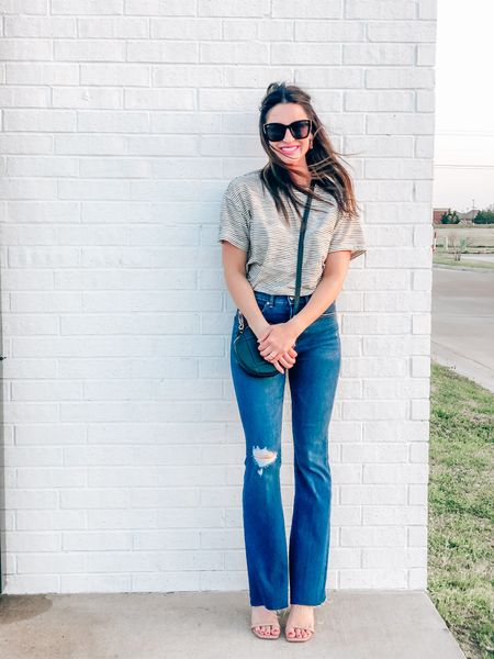 Vintage striped textured Tee and High Waisted Ripped Raw Hem Flare Jeans with Nude Slide On Block Heels 🌸 a perfect spring outfit!  . . . #Target #Express #springoutfit #targetfinds #dateoutfit #casualstyle #affordablefashion #amazonfinds #flarejeans  . .  http://liketk.it/3cgmw #liketkit @liketoknow.it #LTKsalealert #LTKshoecrush #LTKstyletip
