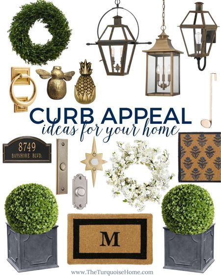 Get inspired by these curb appeal ideas for your home! Spruce up the front porch with some new planters, a monogram doormat, faux topiaries, brass door knocker or New Orleans style lantern! Make a wonderful first impression for guests or impress a new buyer. Either way, you'll smile every time you drive up to the house! .   #LTKhome #LTKunder100 #LTKunder50