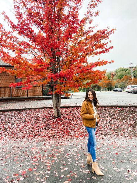 Fall sweater weather outfit. H&M sweater. Walmart quilted brown jacket. Target booties    #LTKSeasonal #LTKshoecrush #LTKunder50