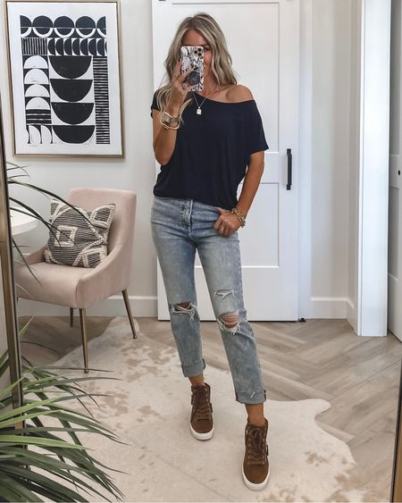 Wedge sneakers 39% off run tts 3 colors …reg $89 sale $53 Jeans sz 4 $49 when you sign in as a member tee sz small Save 15% on initial necklace code KIM15  Small necklace is 2 for 30 Fav hair products on sale  Self tanning drops for body on sale..used today Ootd    #LTKstyletip #LTKSale #LTKsalealert