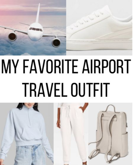 My favorite airport travel outfit! All of the items are from Target and affordable!   ✨✨✨✨✨✨  Airport, airport outfit, airport travel, airport look, airport for, travel outfit, travel fashion, target finds, target style, joggers, blue sweatshirt, beige backpack, white sneakers   #LTKSeasonal #LTKunder100 #LTKfit