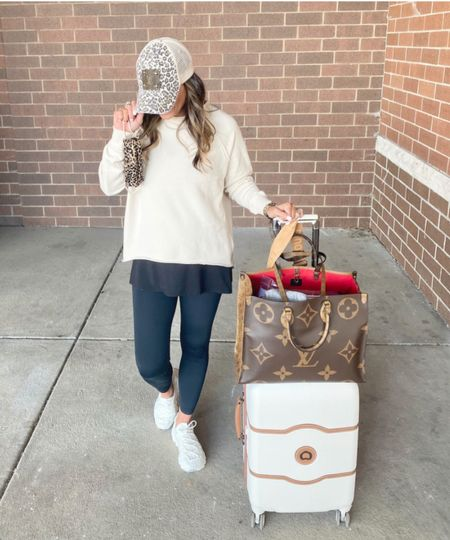 Comfortable travel outfit - I sized down one size to XS in the sweatshirt and tank. Everything else is true to size. Wearing small in the leggings. #justpostedblog #ShopStyle #shopthelook #MyShopStyle #OOTD #LooksChallenge #ContributingEditor #LifeStyle  Amazon Travel Luxury  Comfortable   #LTKstyletip #LTKtravel #LTKfit