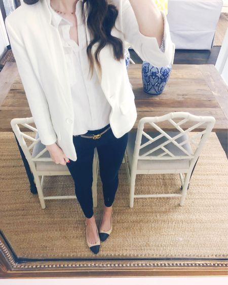 Today's #LTKworkwear outfit : a crisp white button-up, white blazer, black skinny pants, Gucci belt and cap-toe heels. I really love this simple, chic combo! My blazer is sold out but I liked a few other favorite options. http://liketk.it/2BcxH #liketkit @liketoknow.it