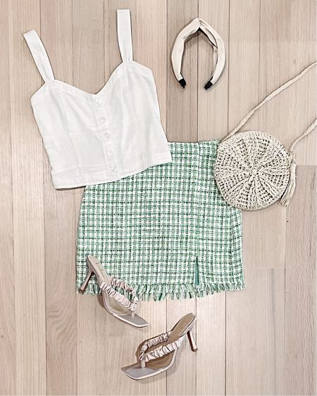 This top is also on sale as part of LTK day! A cute cropped white tank with button detail, green tweed skirt that's adorable for summer, some satin heeled sandals and cute summery accessories.   #LTKDay #LTKSeasonal #LTKunder50