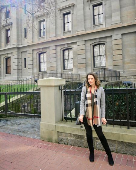 A casual chic outfit that can go from work to weekend with a gray blazer, black pants, and a timeless Burberry scarf. Linked some Burberry scarves and similar gray blazers in the @liketoknow.it app! http://liketk.it/36EKZ #liketkit #LTKstyletip #LTKworkwear