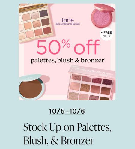 LAST DAY TO GET 50% OFF 😍 USE CODE: BDAY 🎉 . . . Tarte, tarte sale, blush, bronzer, makeup sale, eyeshadow palette    #LTKunder50 #LTKbeauty #LTKsalealert