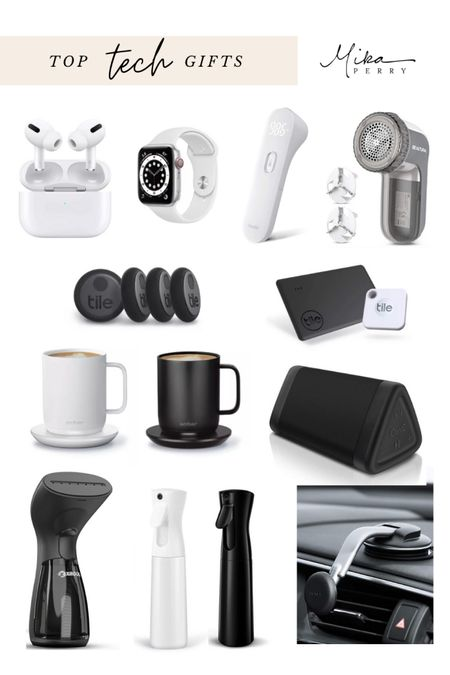 Top tech gifts gift guide! 🖤 Ember coffee mug, Amazon finds, Bluetooth speakers, tile trackers, Apple Watch, AirPods, fabric shaver and farmer steamer, iPhone holder   #LTKgiftspo #LTKhome #LTKsalealert