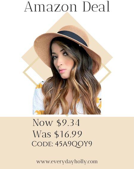 Amazon deal!  Straw Sunhat with Wind Lanyard Wide Brim Classics Beach Panama Hats Foldable Summer Hat UPF50+  #LTKSeasonal #LTKsalealert #LTKunder50