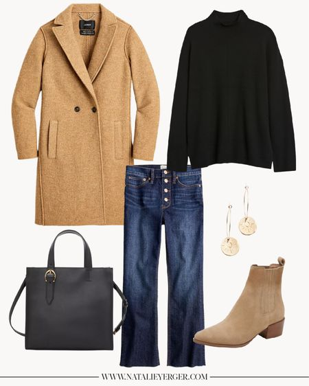 Fall Outfits, Fall Outfits Women, Casual Fall Outfits  This camel coat by J.Crew is a classic and a crowd favorite, and it's already been marked down as much as 30% off this season, so keep your eye out as the weather gets colder! Demi-boot cut jeans pictured are my favorite cut by J.Crew, and I find they run true to size.  #fallcoat #camelcoat #woolcoat #cutefalloutfits #falloutfitscasual