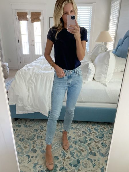 You can't beat a classic pair of Levi jeans 🙌🏼 (I sized up 1 size since there's no stretch). They're a perfect length for booties this fall! Navy T-shirt is a wardrobe staple (size small)   #LTKSeasonal #LTKunder50 #LTKunder100