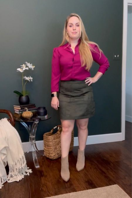 Work outfits, business casual Wearing this express ruffle neck blouse in the color wild orchid (comes in 2 other colors with faux suede green skirt and Marc fisher booties  #LTKstyletip #LTKunder50 #LTKworkwear