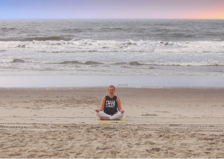 Holding onto summer for a few more days and wishing I could have another yoga sesh on the beach! My tank is Spiritual Gangster and I've linked similar.   #LTKSeasonal #LTKfit #LTKunder50