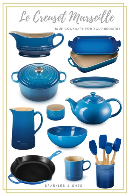 A round up of my favorite #LeCreuset Marseille pieces that have made there way onto my wedding registry, aren't they the prettiest shade of blue!  #bridetobe    #LTKGiftGuide
