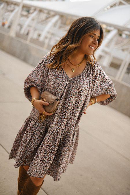 Fall vibes!! 🍂🧡⚡️… floral dress, h&m, fall dress, dresses for fall, flowy dress, fall fashion, fall style, gucci bag  #LTKSeasonal #LTKitbag