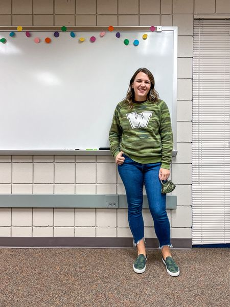 Camo day for Homecoming Week! Let's just say I had it covered!   This sweatshirt is spirit wear but I linked some great options!