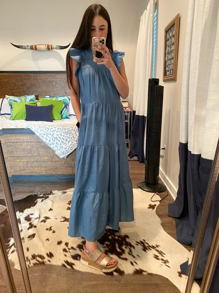 Cutest chambray maxi dress with pockets and ruffle sleeve detail for $29   #LTKstyletip #LTKunder50