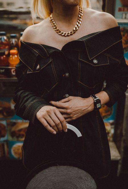 Fall style staple: Denim off the shoulder top   #LTKitbag #LTKSeasonal #LTKstyletip