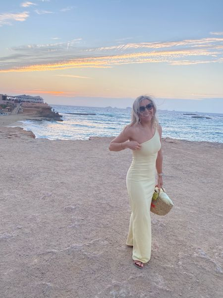 One shoulder dress - bodycon dress - maxi dress - long dress - basket bag - occasionwear bag - occasion wear - special occasion dress - wedding guest dress - yellow dress - fitted dress - asos - NastyGal - floaty dress   #LTKHoliday #LTKunder50 #LTKsalealert