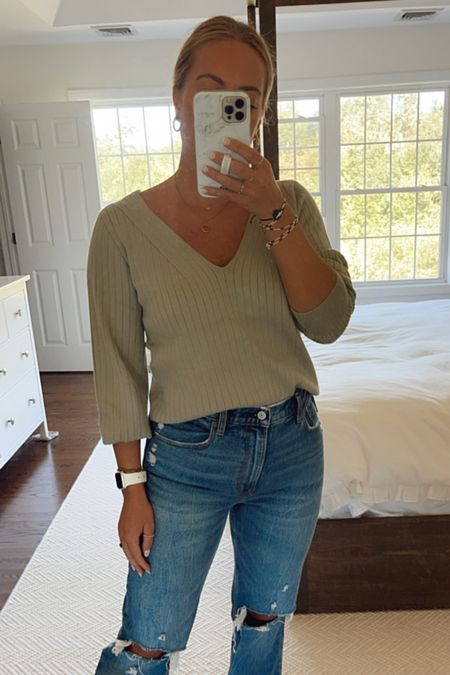 Abercrombie sweater for fall with high rise means   #LTKSeasonal #LTKunder50 #LTKstyletip