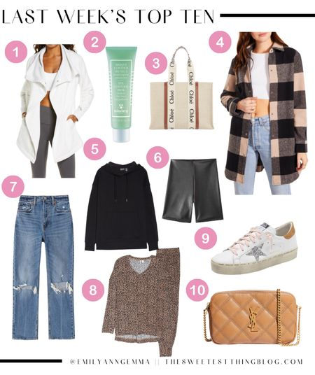 Emily Gemma, Fall Outfit, Fall Outfit inspo, Golden Goose, Abercrombie, Jeans, Fall Handbag, Saint Laurent, Chloe Tote Bag, Sisley Eye Mask, Fall Jacket, Zella Athletic Jacket, Faux Leather Bicycle Shorts, Emily Ann Gemma, Shacket