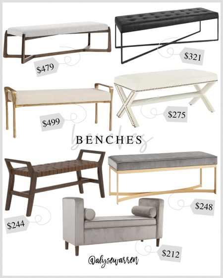 Benches for the end of your bed or entryway!   Bedroom inspiration, home decor, leather bench, upholstered bench  #homeinspo  #LTKhome