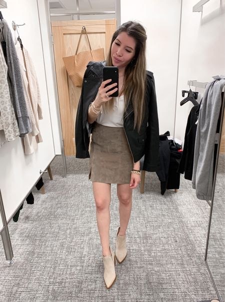Fall Outfit Inspo! This suede skirt is so versatile that can be dress up or down. Size down on both skirt and top. Booties are TTS and still in stock. Wearing 6.5  #nsale #falloutfit #nordstromsale #nordstromanniversarysale #petitestyle #casualoutfit #casualworkwear  Follow my shop on the @shop.LTK app to shop this post and get my exclusive app-only content!  #liketkit #LTKstyletip #LTKunder50 #LTKsalealert @shop.ltk http://liketk.it/3kgDF  #LTKshoecrush #LTKunder100 #LTKworkwear