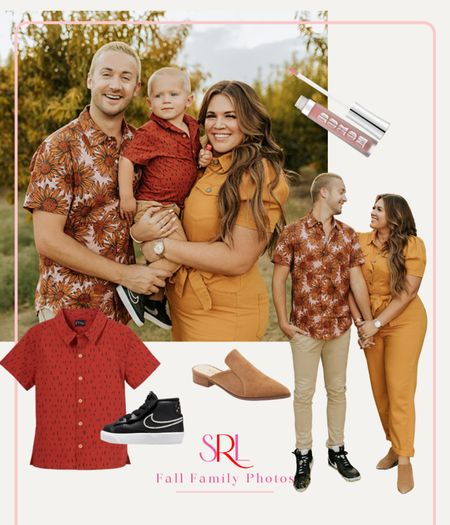 Fall family photo outfits 🍁  This jumpsuit comes in regular blue denim too! Robbie's shirt is on sale + comes in tons of patterns/colors  #LTKstyletip #LTKfamily #LTKcurves