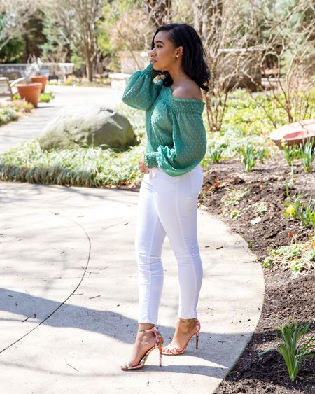 White jeans are a must this season! So are off-the-shoulder tops 💗 ☀️ Check out similar ones below!  #LTKDay #LTKstyletip #LTKunder100