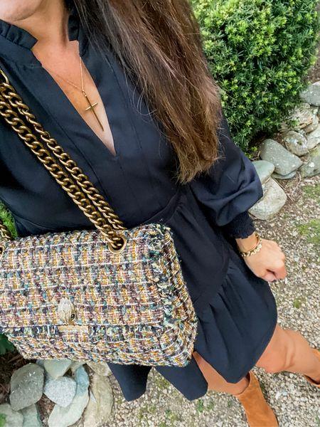 Tweed handbag. Black dress. Fall bag. Bootie style. Fall fashion. Kurt Geiger bag.  Dress XXS (size down). Booties TTS.   #LTKshoecrush #LTKstyletip #LTKitbag