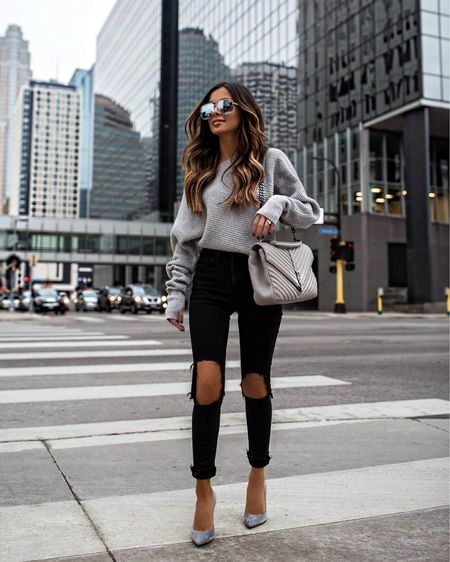 Casual fall outfit  Gray off the shoulder sweater  Topshop black jeans Saint Laurent college bag Quay Sunglasses   #LTKstyletip #LTKunder100 #LTKitbag