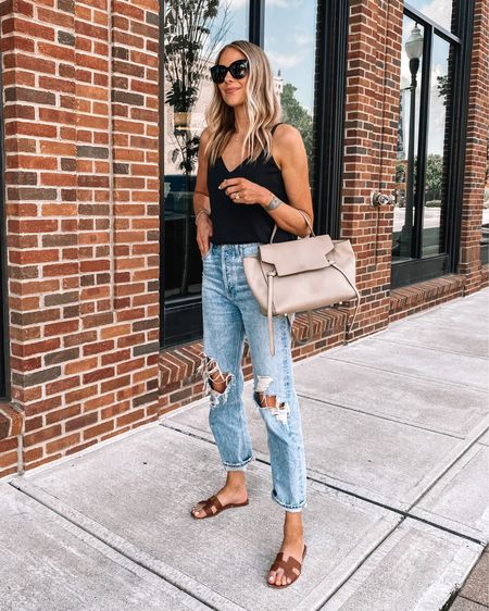 These relaxed ripped AGOLDE jeans are one of my favorite pairs of denim! (Size down / runs big) love them with sandals for a casual summer look #shopbop #AGOLDE #rippedjeans #hermessandals http://liketk.it/3hgtk #liketkit @liketoknow.it #LTKunder50 #LTKunder100 #LTKstyletip
